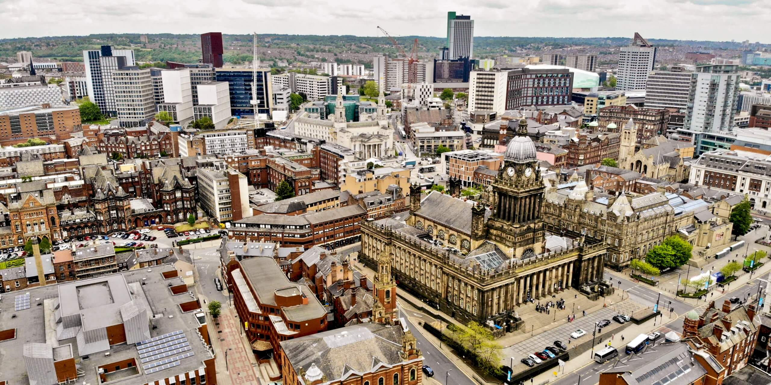 Aerial shot of Leeds cityscape