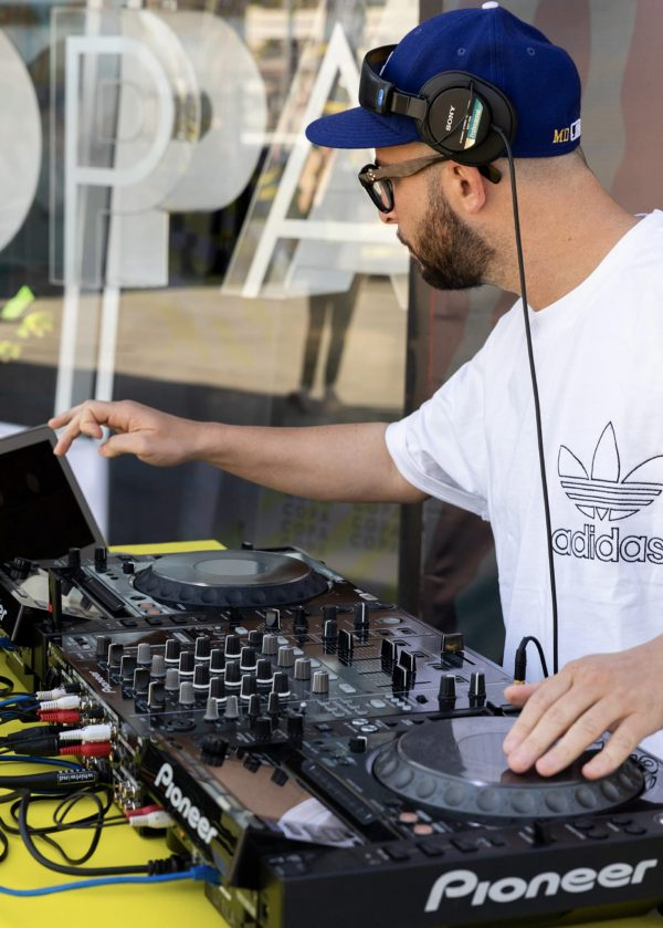 DJ playing at adidas copa 19 event