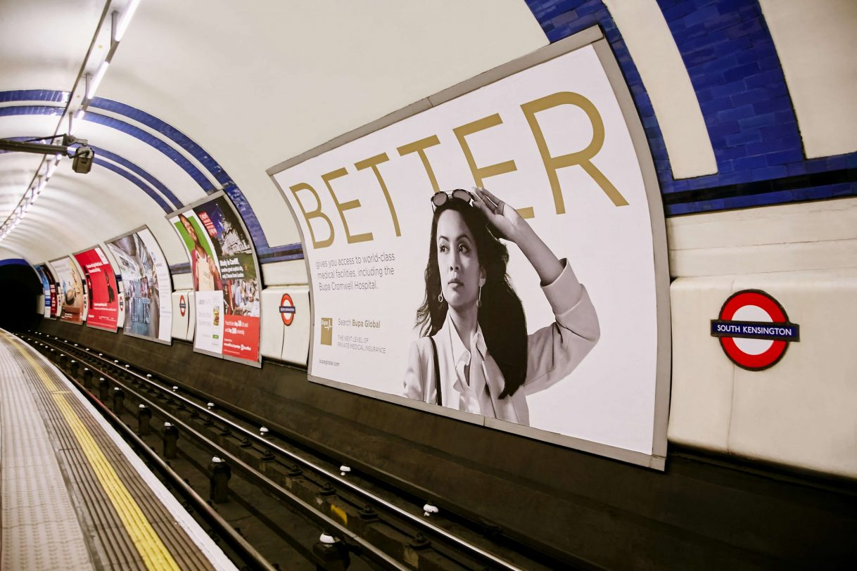 Bupa high net worth design and brand in the london underground