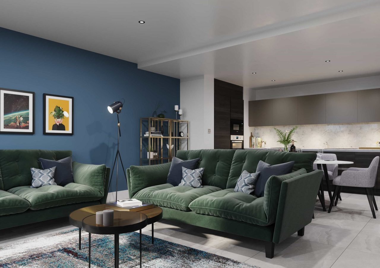Moda living 3D render, production & design by IMA